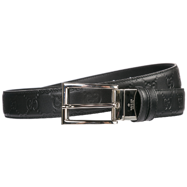 Gucci Men's Belt Reversible Double Genuine Leather In Black