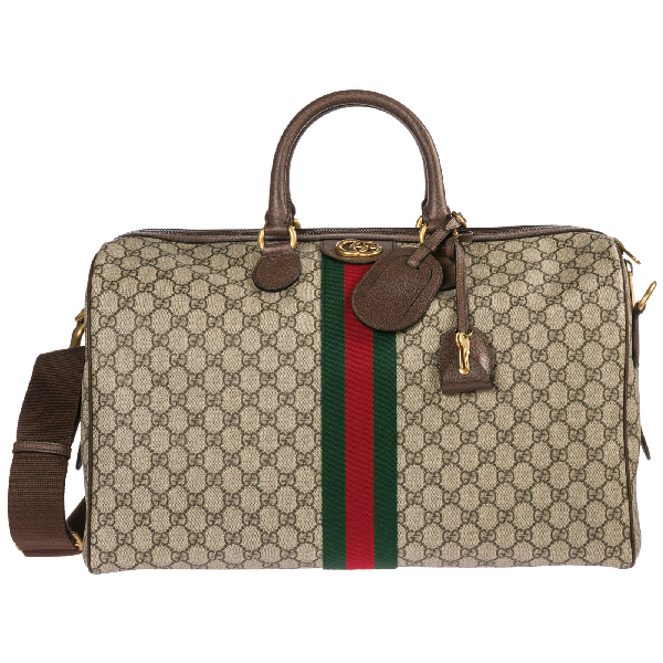 d8e1d1389bd Gucci Genuine Leather Travel Duffle Weekend Shoulder Bag Ophidia In Beige