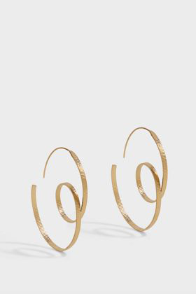 Annie Costello Brown Oval Scroll Gold Vermeil Hoop Earrings In Blue