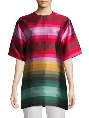 Valentino Multi-Color Stripe Silk Top