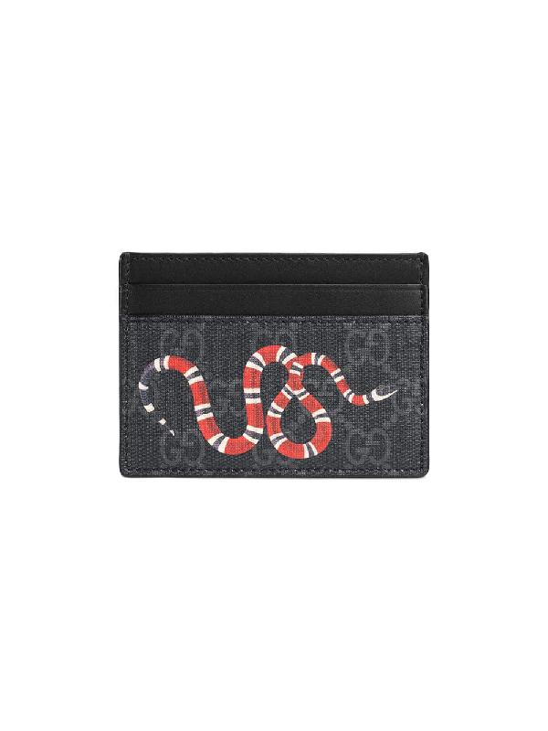 cf741083a3ae Gucci Kingsnake Print Gg Supreme Card Case In Black | ModeSens