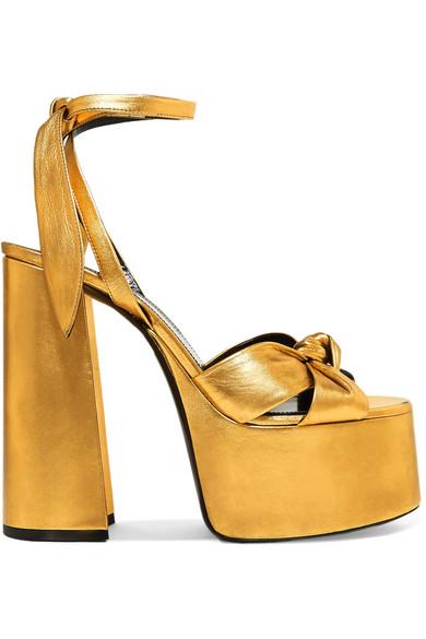 3038a21c8a4 Saint Laurent Paige Metallic Leather Platform Sandals In Gold