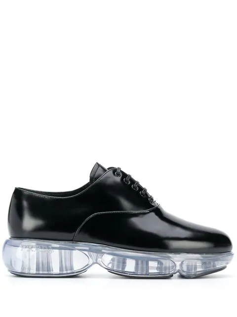 Prada Cloudbust Leather And Rubber Sneakers In Black