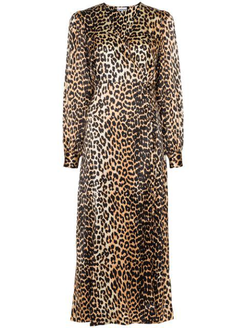 Ganni V-neck Bishop-sleeve Animal-print Stretch-silk Midi Dress In Brown