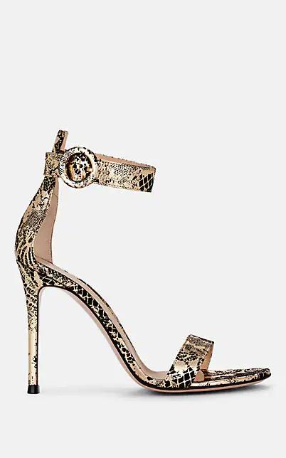 Gianvito Rossi Portofino Metallic Lace Leather Sandals In Gold