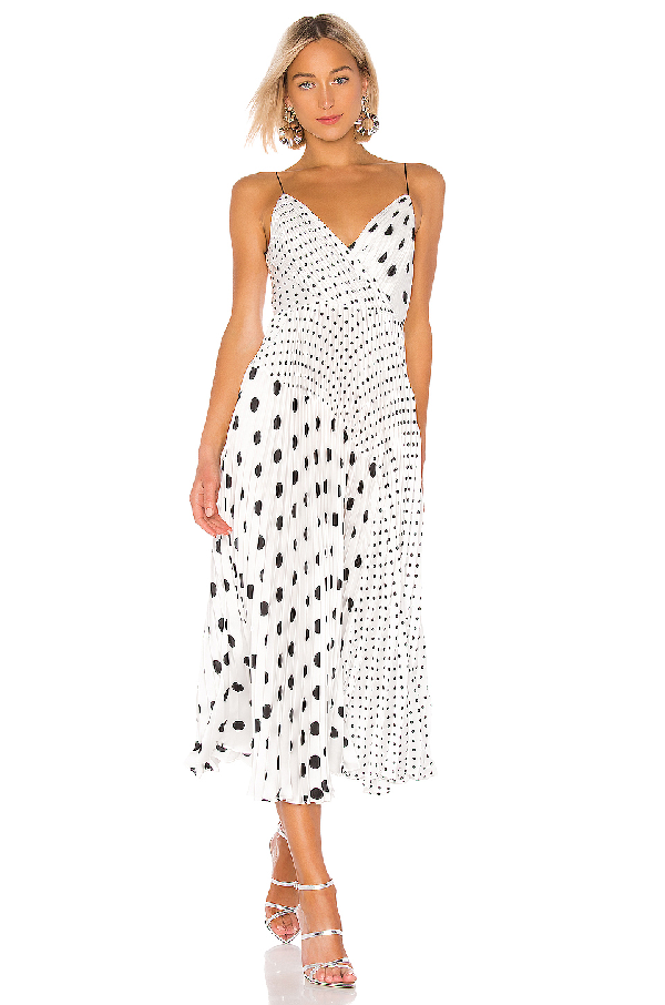 12f80d621e3f9 Jill Jill Stuart Mixed Polka Dot Print Sleeveless Satin Charmeuse Dress In  Black & White