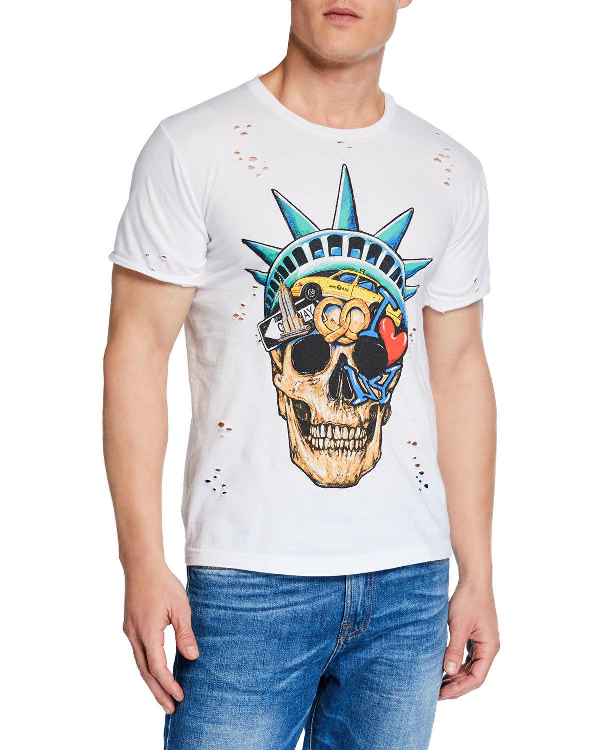 Domrebel Men's Liberty Skull Graphic T-Shirt In White
