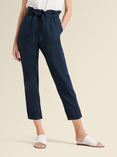 Dkny Donna Karan New York Paperbag-Waist Cropped Pants In Indigo