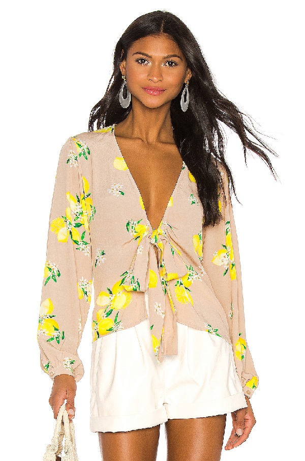 Majorelle Yara Blouse In Beige. In Tan Lemon
