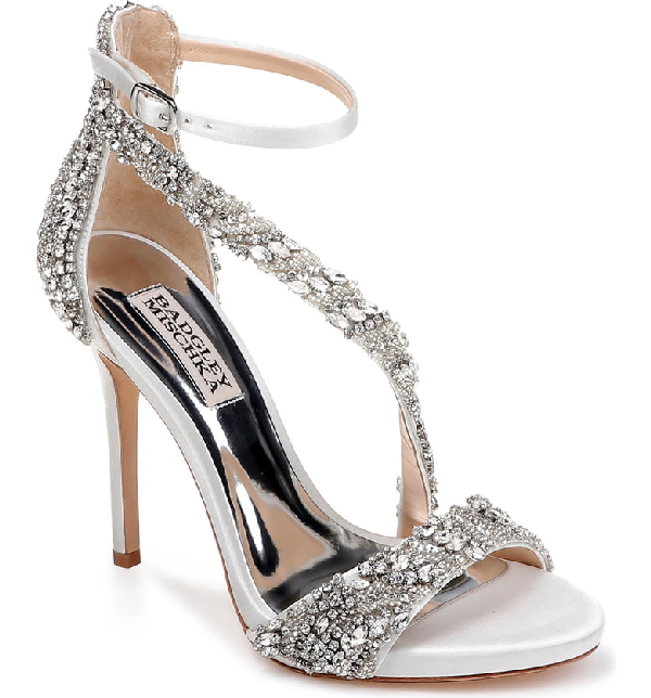 94a7628c518 Venice Crystal Embellished Strappy Sandal in Soft White Satin