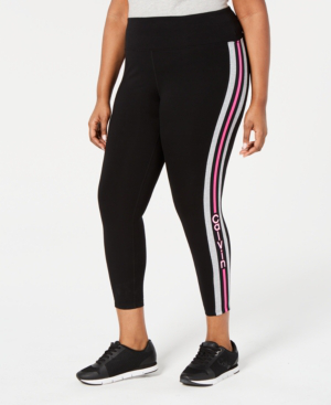 Performance Plus Size Logo-Stripe Ankle Leggings in Hot Magenta