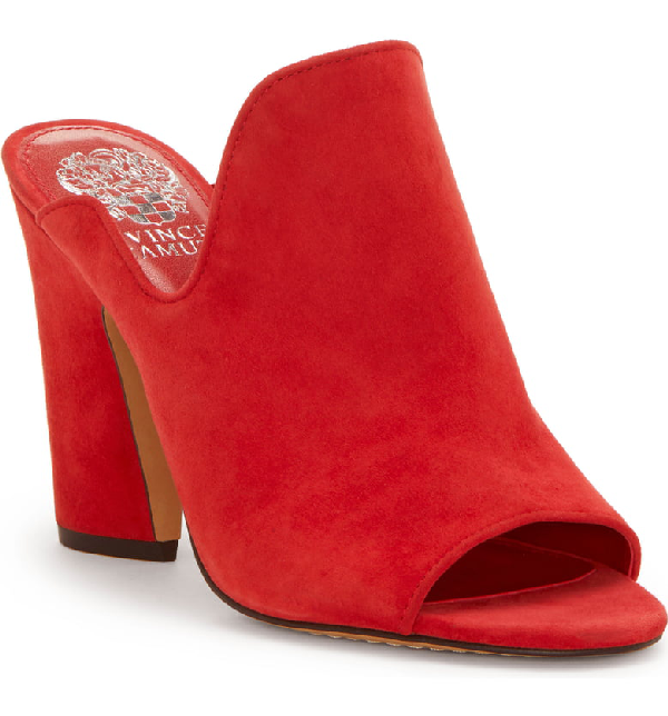 876f739f5 Vince Camuto Women s Gerrty Peep Toe High-Heel Leather Mules In Glamour Red  Suede