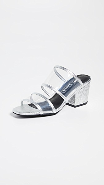 Sol Sana Ziggy Mule Sandals In Silver