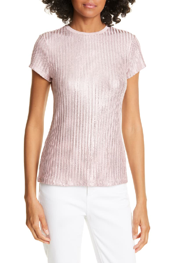 Ted Baker Catrino Metallic Knitted T-Shirt In Pink
