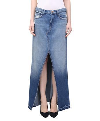 fade4389ec J Brand Trystan Distressed Denim Maxi Skirt In Blue | ModeSens