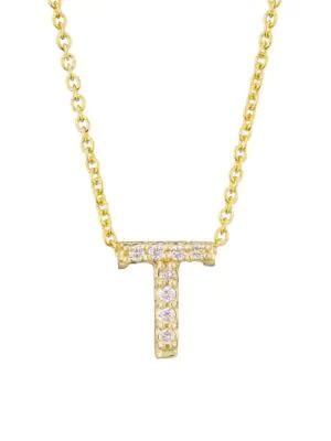 Roberto Coin Tiny Treasures 18K Yellow Gold & Diamond Letter Pendant Necklace