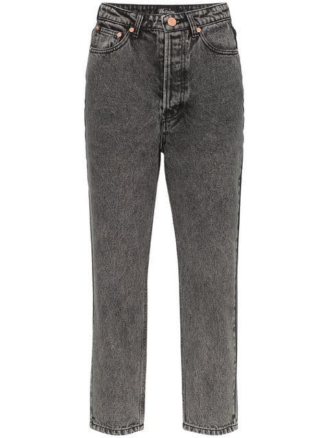 Mom Jeans, schwarz, mit Knöpfen Black Denim