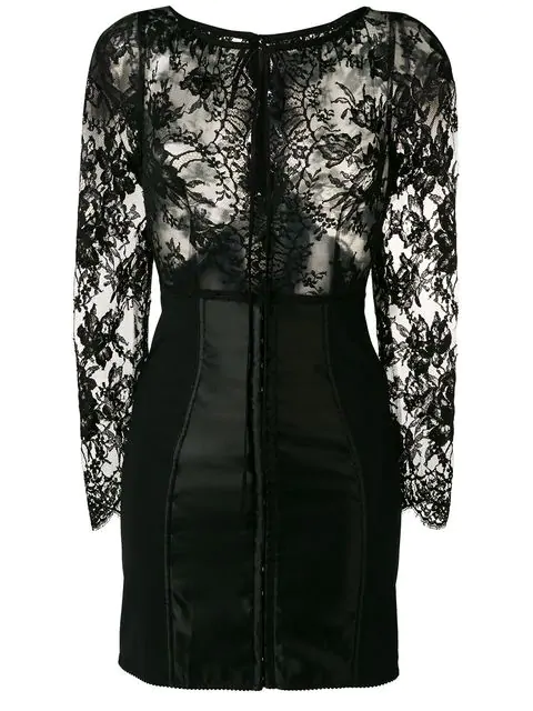 Dolce & Gabbana Kleid Aus Floraler Spitze In Black