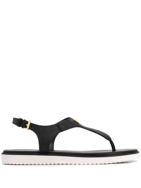 Michael Michael Kors T-bar Logo Sandals - Black