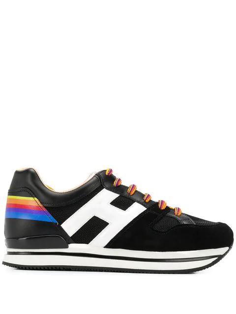 Hogan Rainbow Lace Up Sneakers In Black