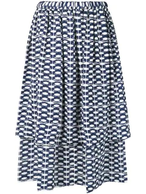 Comme Des Garçons Geometric Print Skirt In Blue