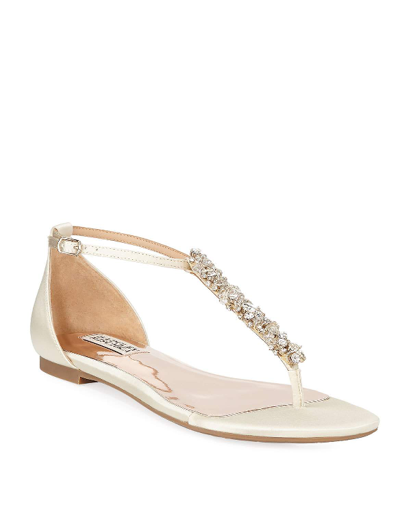 Badgley Mischka Holbrook Embellished T-Strap Sandals In White