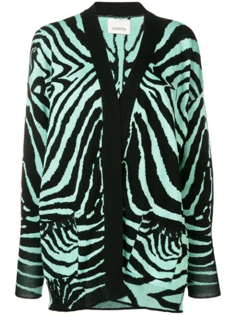 Laneus Zebra Knit Cardigan In Black