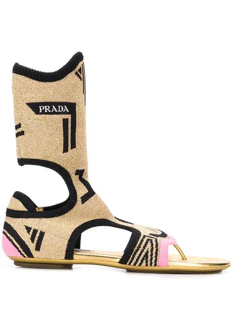 Prada Cut-Out Detail Sandals In Gold