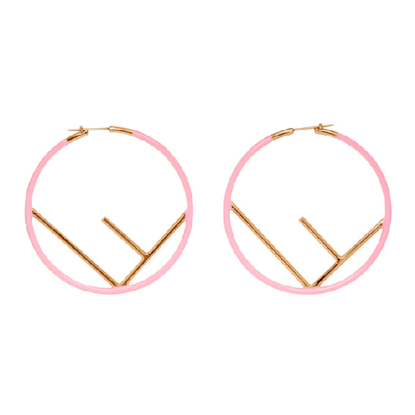 95654f2c47bba6 Fendi Pink And Gold F Is Earrings In F1799 Pink   ModeSens