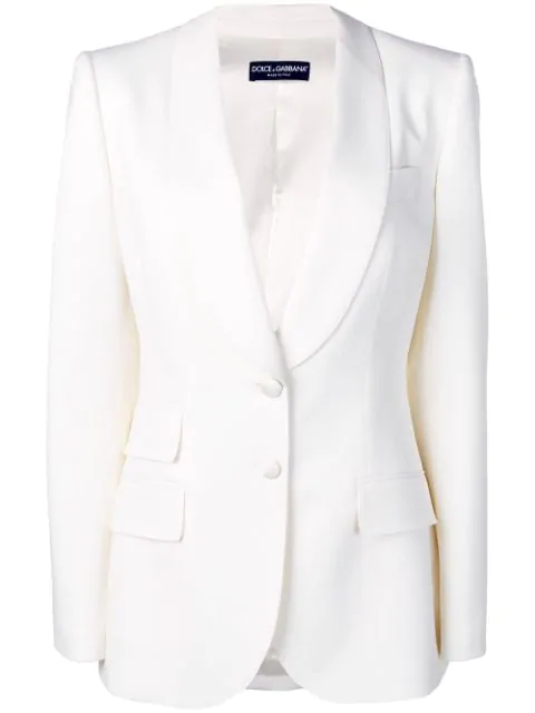 Dolce & Gabbana Single Breasted Blazer In Neutrals