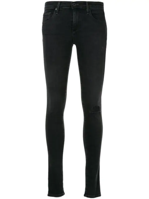 Ag Distressed Skinny-fit Jeans In Black