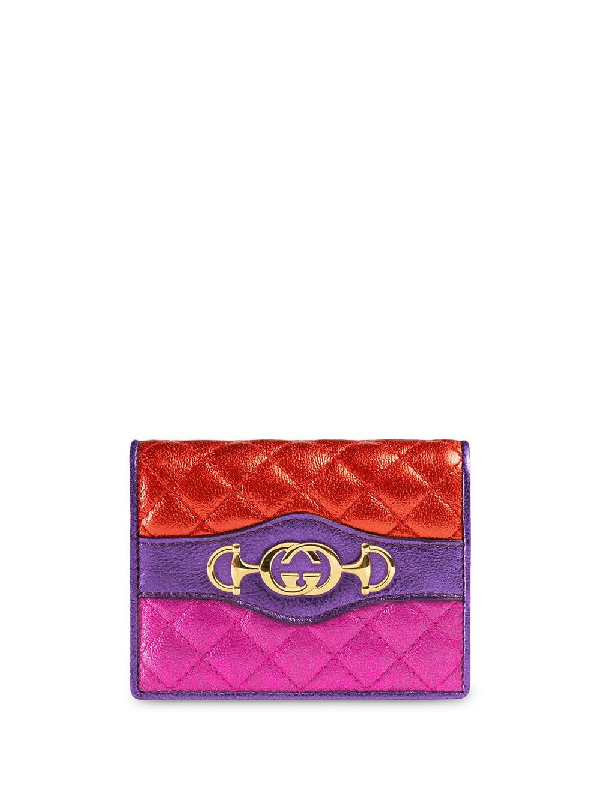 Gucci Laminated Leather Card Case Wallet In Purple