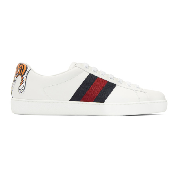 0693b1a18 Gucci New Ace Hanging Tiger Leather Low-Top Sneaker, White | ModeSens