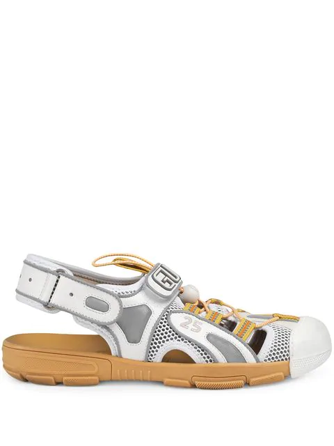 Gucci Men's Leather And Mesh Sandal In White