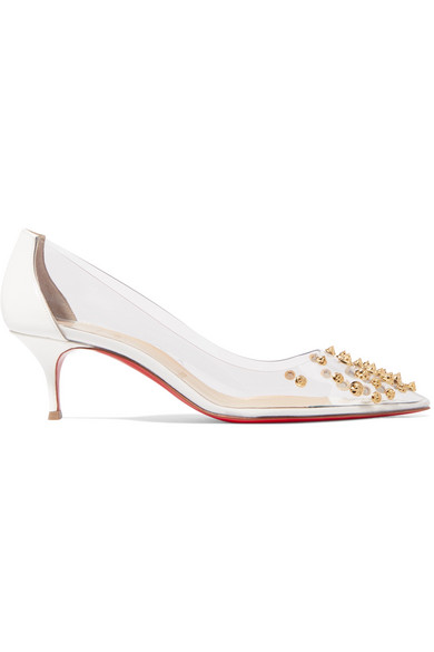 9b34b6fdce4 Collaclou 55 Spiked Pvc And Patent-Leather Pumps in White
