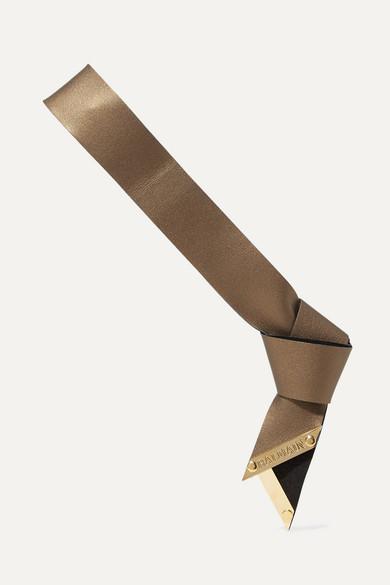 Balmain Paris Hair Couture Metallic Textured-leather Headband In Bronze