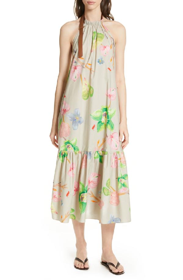 def202659d Tibi Linnea Floral Print Poplin Halter Midi Dress In Neutrals | ModeSens