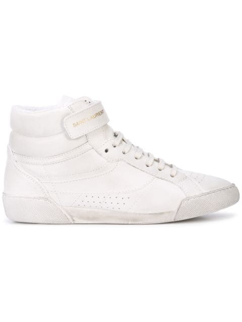 Saint Laurent Lenny Logo-Print Distressed Leather High-Top Sneakers In White
