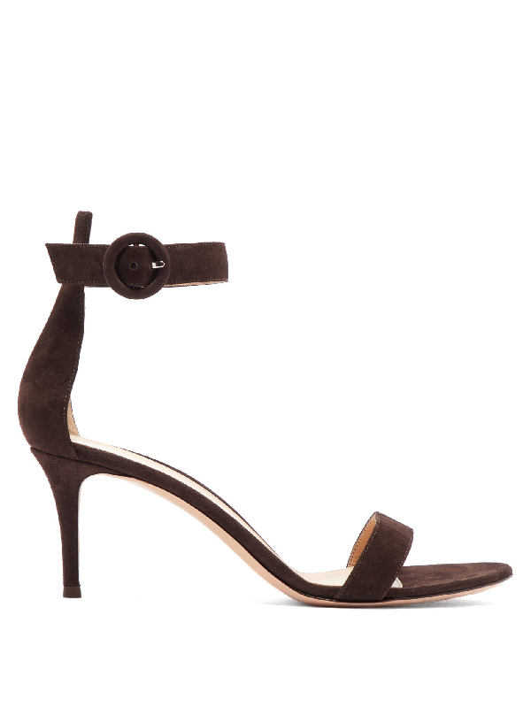 Gianvito Rossi Portofino 70 Suede Sandals In Chocolate