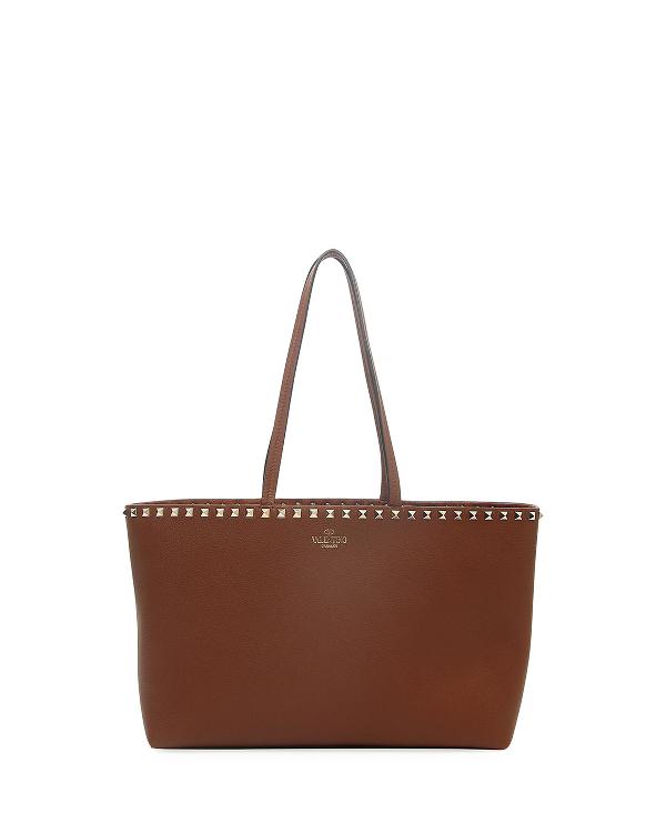 Valentino Rockstud Small Tote Bag In Tan