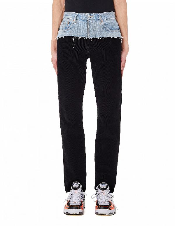 Vetements Denim And Corduroy Jeans In Black