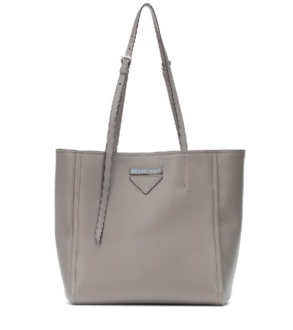 dd13c11ca0b0c2 Prada Logo Tote Bag Rivets Leather Argilla/Nero In Grey | ModeSens