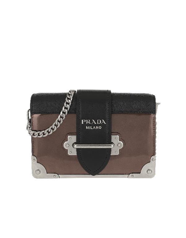 5ef2d43645b4 Prada Cahier Shoulder Bag Metallic Leather Cammeo/Nero In Multicolor ...