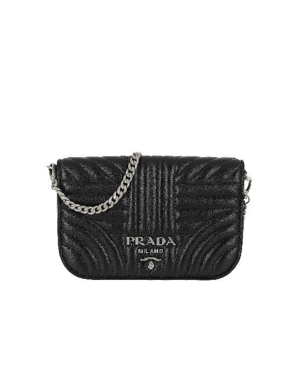 d2a4b974da5b Prada Quilted Diagramme Nappa Leather Bag Black Silver | ModeSens