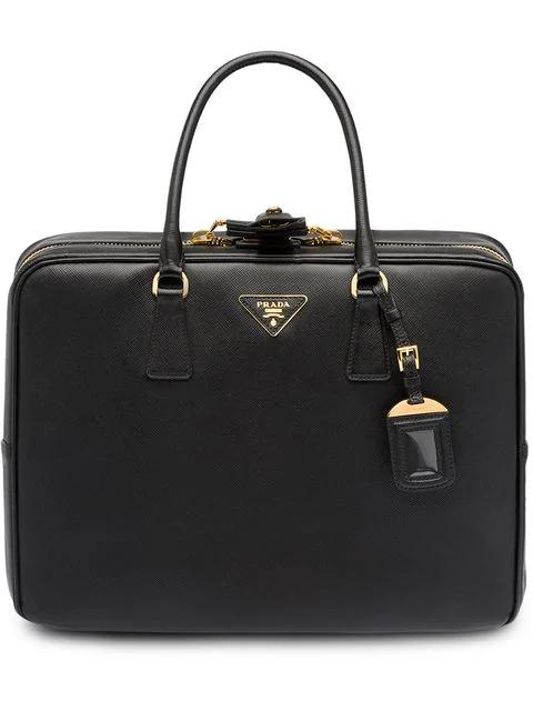 Prada Saffiano Logo Suitcase In Black