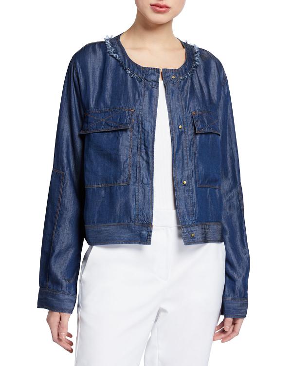 Dkny Donna Karan New York Chambray Jacket In Dark Blue