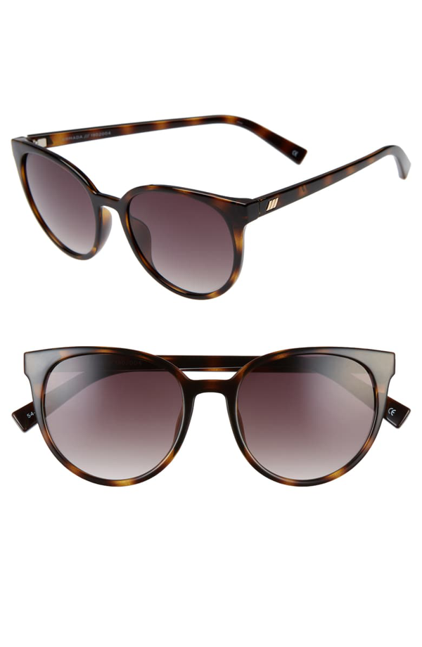 Le Specs Armada 54mm Cat Eye Sunglasses In Tortoise/ Khaki Gradient