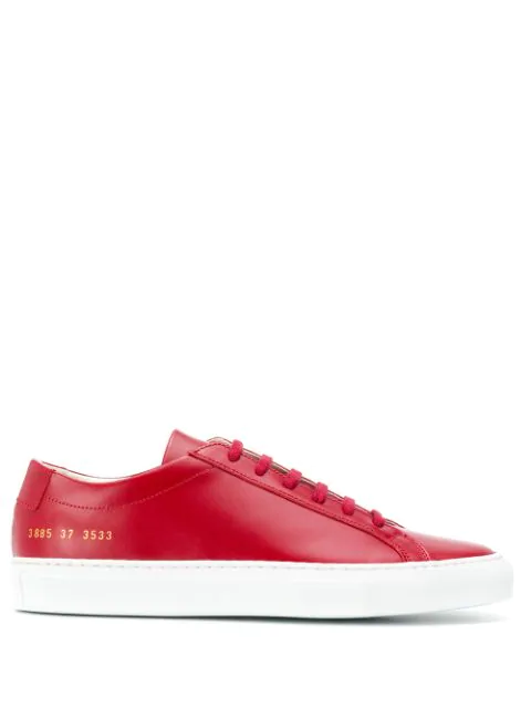 Common Projects Achilles Premium Low Sneakers In Red
