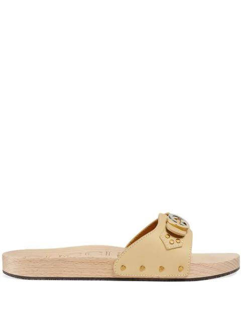 Gucci Men's Leather Slide Sandal In Neutrals