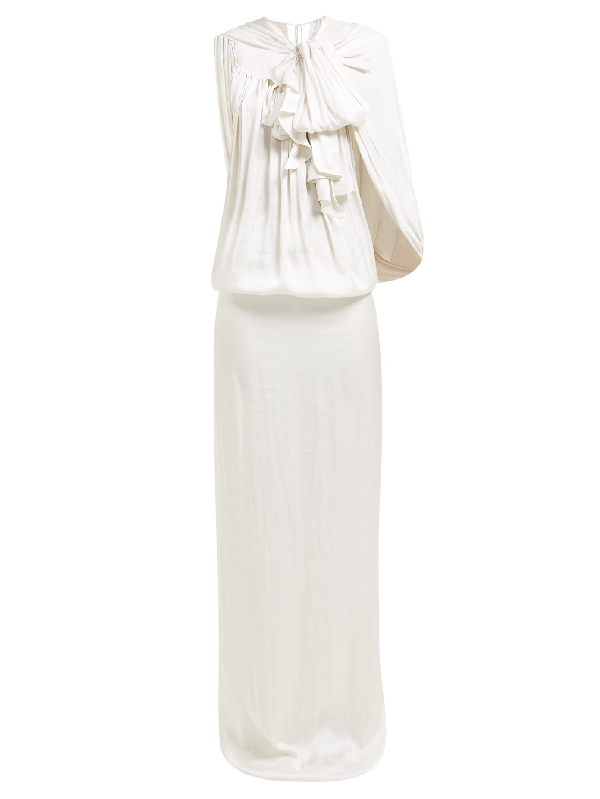 Carl Kapp Cardano Cape Satin Maxi Dress In White